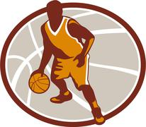 basketball player dribbling ball oval retro - stock illustration