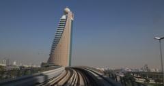 Ultra HD 4K UHD Dubai POV Metro Fully Automated Metro Network UAE Etisalat Tower Stock Footage