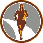 Marathon runner front circle retro Stock Illustration