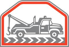 tow wrecker truck side retro - stock illustration