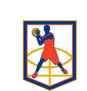 Basketball player passing ball shield retro Stock Illustration