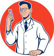 Scientist lab researcher chemist cartoon Stock Illustration