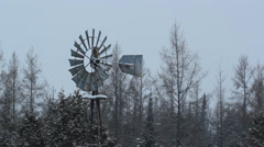 Winter windmill in rural Ontario. Stock Footage