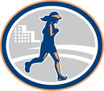 Stock Illustration of female marathon runner city retro