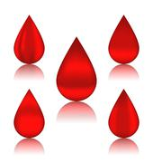 set blood drops with reflections, different variation - stock illustration