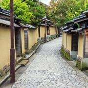 a street in the old samurai quarter in kanazawa, japan - stock photo
