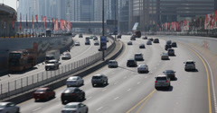 Ultra HD 4K Busy Street City Highway Rush Hour Freeway Dubai Traffic Congestion - stock footage