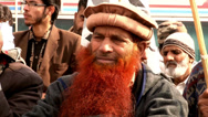 Stock Video Footage of Bearded Islamist at an Extremist Rally in Pakistan
