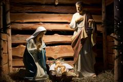 Nativity scene with  figures made out of wood Stock Photos