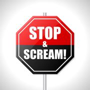 Stop and scream traffic sign Stock Illustration