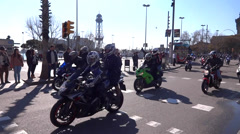 Motorcycle ride barcelona Stock Footage