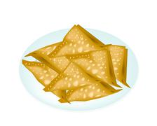 Deep Fried Wonton in A White Plate Stock Illustration
