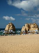 beach of praia da rocha in portimao - stock photo