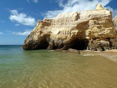 cliffs at the algarve coast in portugal - stock photo