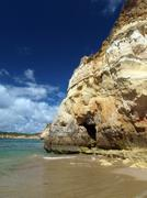 a section of the idyllic praia de rocha beach on the southern coast of the po - stock photo