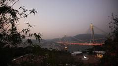 Ting Kau Bridge in Hong Kong at night Stock Footage