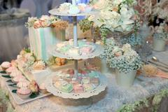 Colorful cakes on a banquet Stock Photos