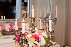 Stock Photo of candle holder decorated with flowers