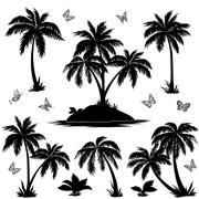 Tropical island, palms and butterflies silhouettes Piirros