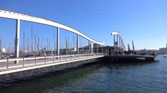 Swing bridge in port vell, Barcelona Stock Footage