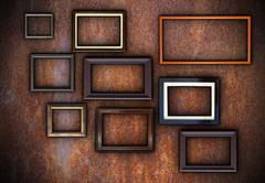 rusty wall full of empty frames ready for your design - stock illustration