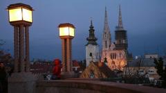 Night view in Zagreb, Croatia. Stock Footage