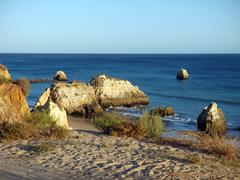 Picturesque beaches of the algarve Stock Photos