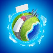 Truck on the highway heading to the city on horizon. mini planet concept. Stock Illustration