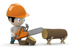 Lumberjack at work! social 3d characters: woodcutter using saw to slice Stock Illustration