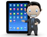 Stock Illustration of it's touchpad era! social 3d characters businessman in suit