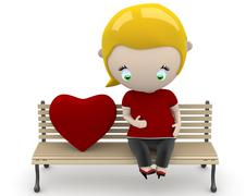 Love fruit! social 3d characters: pregnant woman on a bench with heart sign. Stock Illustration
