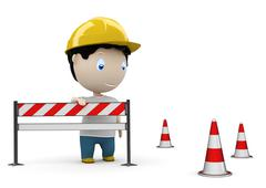 Web site under construction! social 3d characters: man on road by the barrier Stock Illustration