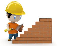 Under construction! social 3d characters: man using trowel to place the brick Stock Illustration