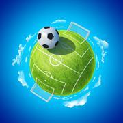 Mini planet concept. soccer stadium with hyperbolic ball. Stock Illustration