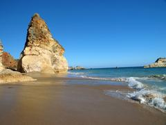 The idyllic praia de rocha beach Stock Photos