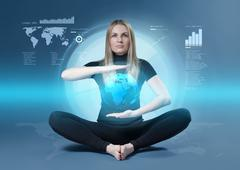 Cute blonde yoga meditation in futuristic holographic media touch interface. Stock Illustration