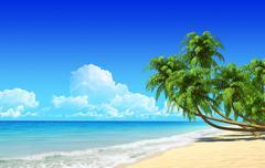 Palms on empty idyllic tropical sand beach. Stock Illustration