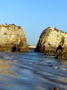 colorful rock cliffs of the algarve - stock photo