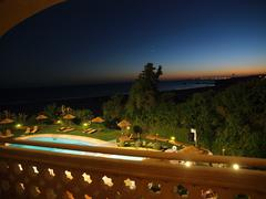 praia da rocha in the glow of the sunset. portimao, algarve - stock photo