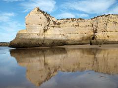 the idyllic praia de rocha beach - stock photo