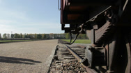 Stock Video Footage of Visitors at Auschwitz Birkenau - railway line