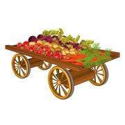 wooden cart with harvest of vegetables - stock illustration
