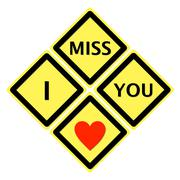 sign of i miss you - stock illustration