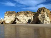 Stock Photo of caves and colourful rock formations on the algarve coast in portugal