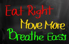 Eat right move more breathe easy concept Stock Illustration