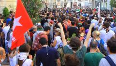 People shouting slogans - stock footage