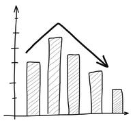 Drawing of graph up and down Stock Illustration