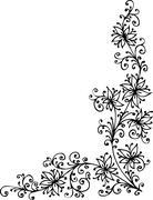 floral vignette - stock illustration