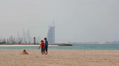 Dubai.UAE.Burj Al Arab in February 2014.Jumeirah beach promenade. Stock Footage