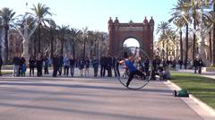 Arc de Triomphe barcelona street art Stock Footage